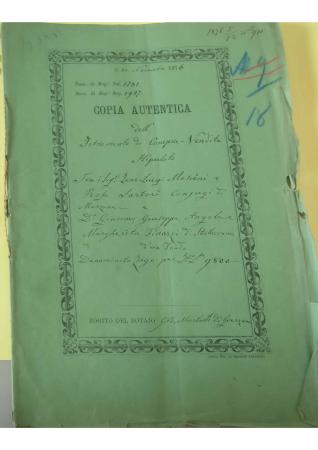 Copia autentica dell'istromento di compra - vendita Mosconi Marzana