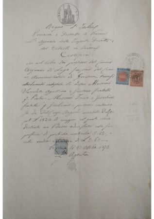 Certificazione agenzia delle imposte dirette Mosconi
